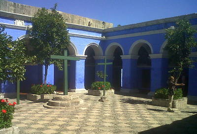 Photograph - The Blue Courtyard by Lew Davis