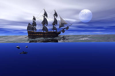 Digital Art - The Blue Deep by Claude McCoy