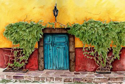 Italian Wine Painting - The Blue Door by Marley Ungaro