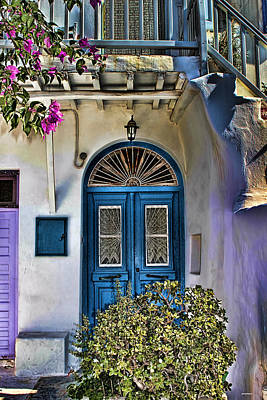 Photograph - The Blue Door-santorini by Tom Prendergast