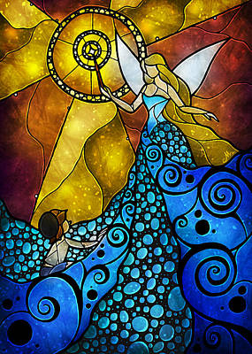 Fantasy Digital Art - The Blue Fairy by Mandie Manzano