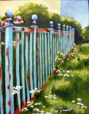 Painting - The Blue Fence by Lenore Gaudet