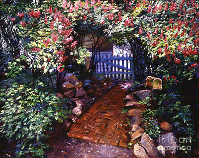 Picket Fence Painting - The Blue Garden Gate by David Lloyd Glover