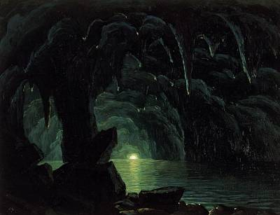 Eerie Painting - The Blue Grotto by Albert Bierstadt