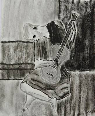 Blue And Gray Drawing - The Blue Guitarist by Sean Mitchell