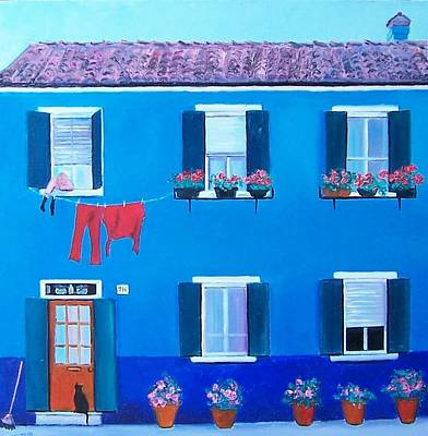 House Painting - The Blue House Burano by Jan Matson