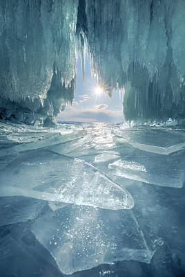 The Blue Ice Cave At Lake Baikal Art Print by Coolbiere Photograph