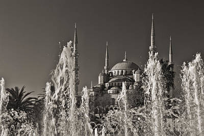 Photograph - The Blue Mosque Plus Fountain Black And White by For Ninety One Days