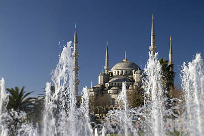 The Blue Mosque Plus Fountain Art Print