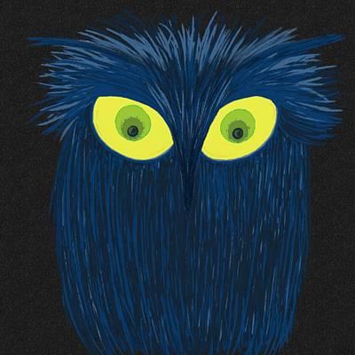 Digital Art - The Blue Owl by Michelle Brenmark
