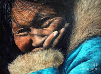 Native Portraits Painting - The Blue Parka by Joey Nash