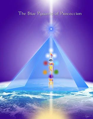 Hades Digital Art - The Blue Pyramid Of Protection by Endre Balogh