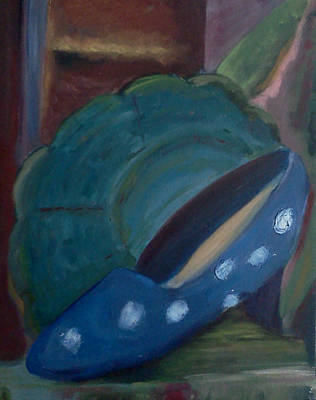 Painting - The Blue Shoe And The Plate 2 by Darlene Berger