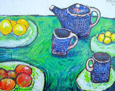 The Blue Teapot Print by Clarence Major