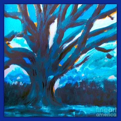 Painting - The Blue Tree Bordered by Joan-Violet Stretch
