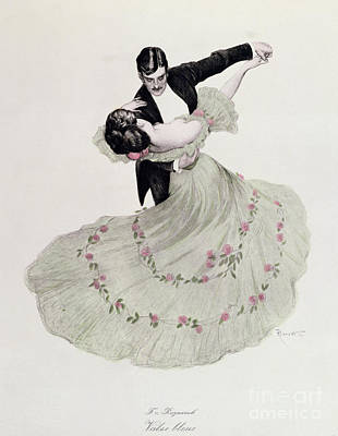 Evening Dress Drawing - The Blue Waltz by Ferdinand von Reznicek