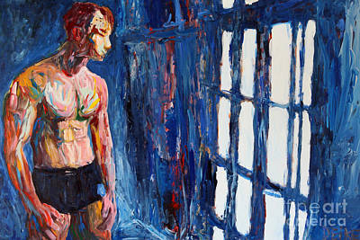 Figure Painting - The Blue Window 2563 by Lars  Deike