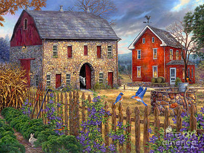 Charming Cottage Painting - The Bluebirds' Song by Chuck Pinson