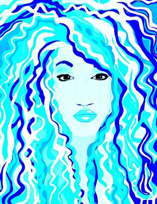 Beautiful Woman Digital Art - The Blues by Cindy Edwards
