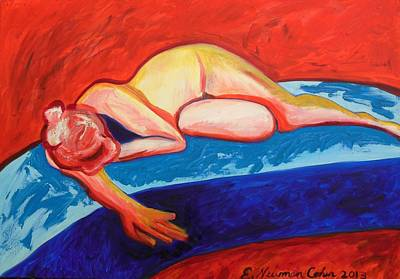 Painting - The Blues In Red Rhapsody by Esther Newman-Cohen