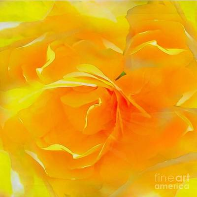 Photograph - The Blushing Yellow Rose Abstract 2 by Becky Lupe