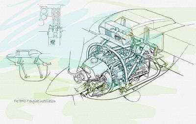 Civil Aviation Digital Art - The Bn2-t Engine Installation by Don Kuing