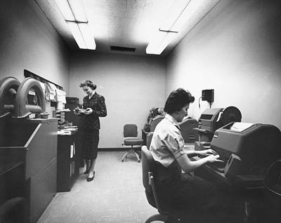 Airways Photograph - The Boac Teletype Room At Jfk by Underwood Archives