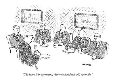 Conservative Drawing - The Board Is In Agreement by Robert Mankoff