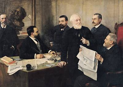 Editor Photograph - The Board Of Directors Of La Republique Francaise, 1890 Oil On Canvas by Henri Gervex