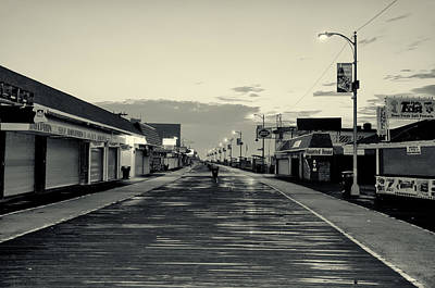 Beach Photograph - The Boardwalk Before Sunrise In Sepia by Bill Cannon