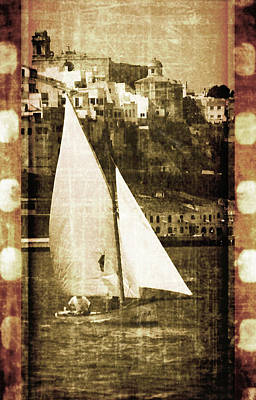 Photograph - Port Mahon And Traditional Boat Called Llaut In A Vintage Process - The Boat And The City by Pedro Cardona