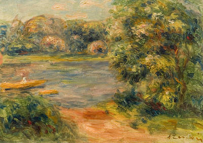 The Boat On The Lake Art Print by Pierre Auguste Renoir