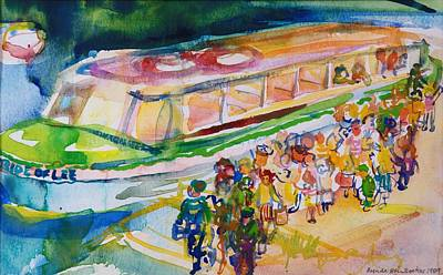 Boat Pier Photograph - The Boat Trip, 1989 Wc On Paper by Brenda Brin Booker