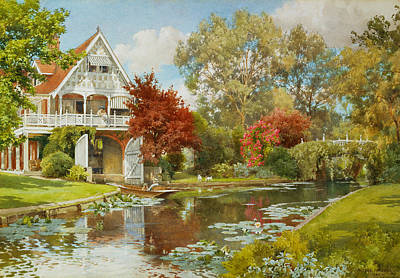 Boathouse Painting - The Boathouse by Alfred Parsons