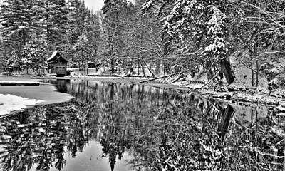 Winter Scene And Lake Photograph - The Boathouse In Old Forge by David Patterson