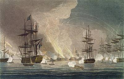 Canon Drawing - The Bombardment Of Algiers By The Royal by Thomas Whitcombe