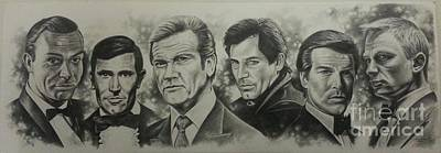 Pierce Brosnan Drawing - The Bonds by James Rodgers