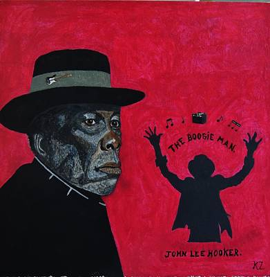 Painting - The Boogie Man.john Lee Hooker. by Ken Zabel