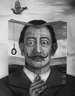 Fried Painting - The Book Of Surrealism Bw by Leah Saulnier The Painting Maniac
