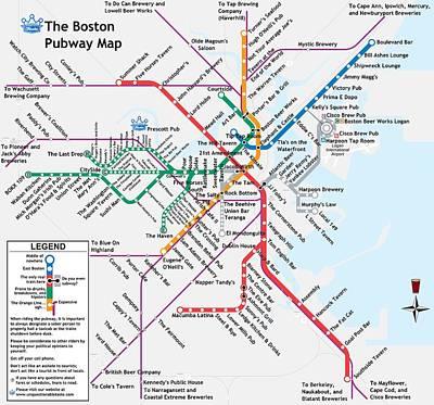 Harvard Digital Art - The Boston Pubway Map by Unquestionable Taste