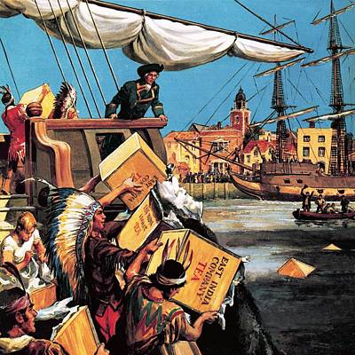 East India Painting - The Boston Tea Party by English School
