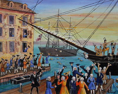 Floating Box Painting - The Boston Tea Party  by Jan Mecklenburg