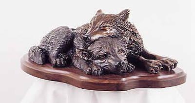 Wolf Sculpture - The Bottom Bunk by Lori Salisbury