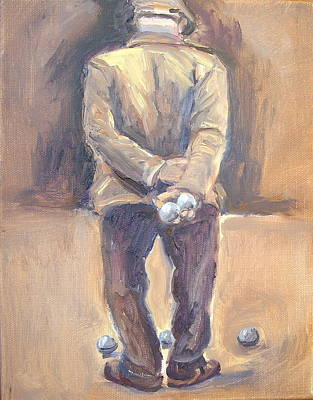 Boule Painting - The Boule Player by Linda  Wissler