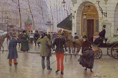 European Street Scene Painting - The Boulevard Des Capucines And The Vaudeville Theatre by Jean Beraud