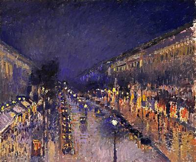Nuit Painting - The Boulevard Montmartre At Night by Camille Pissarro