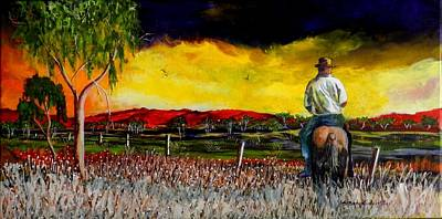 Australian Open Painting - The Boundary Rider by Sandra Sengstock-Miller
