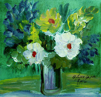 James Earl Ray Painting - The Bouquet Green  by Anna Sandhu Ray