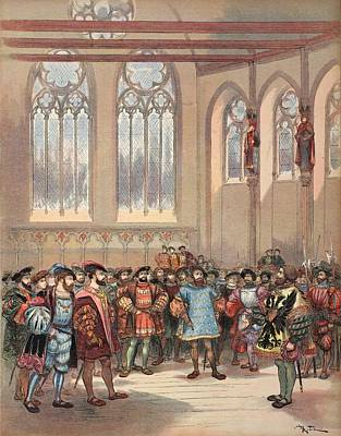 Royal Court Drawing - The Bourgogne Herald, Sent By Charles by Albert Robida