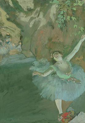 Ballet Dancers On The Stage Painting - The Bow Of The Star by Edgar Degas